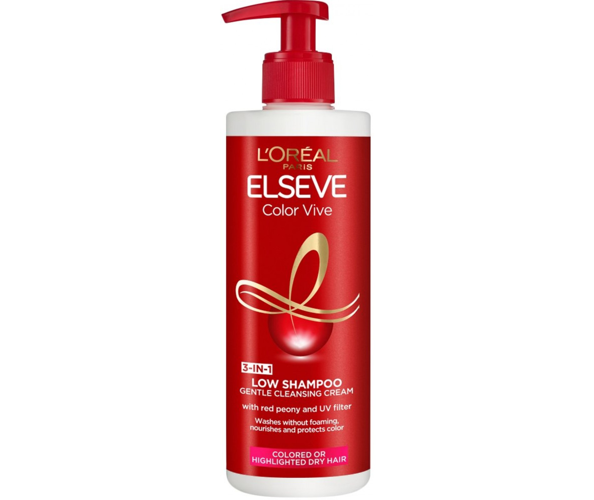 Elseve Color Vive Low Shampoo 3 in 1 Cleansing Cream 400 ml.