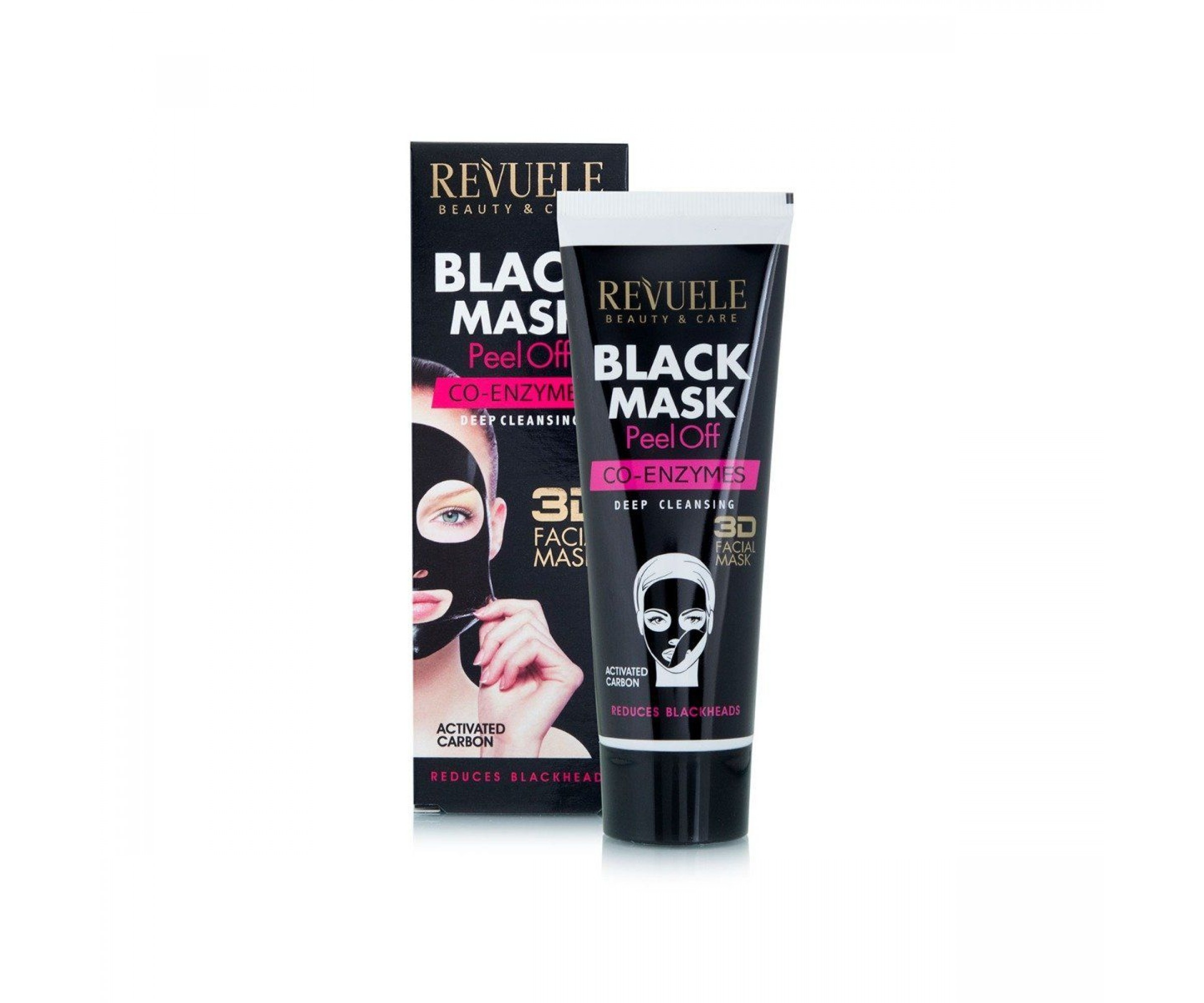 Revuele Deep Cleansing 3D Black Peel Off Face Mask With Co-Enzymes Reduces Blackheads 80 ml