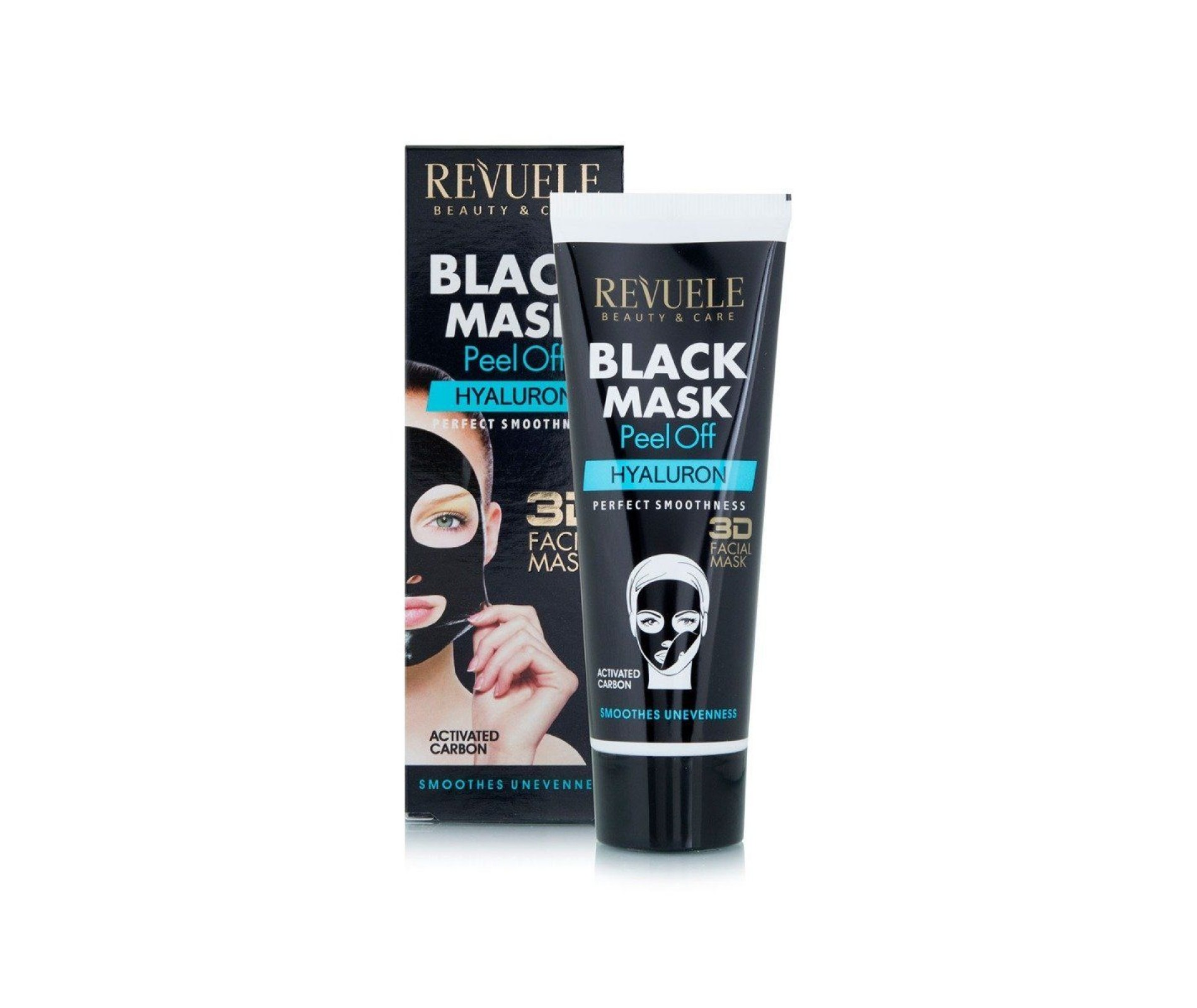 Revuele Perfect Smoothness 3D Black Peel Off Face Mask With Hyaluron Smoothes Unevenness 80 ml